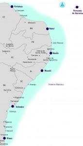 Mapa Cruzeiros Nordeste, Guia Portos do Brasil